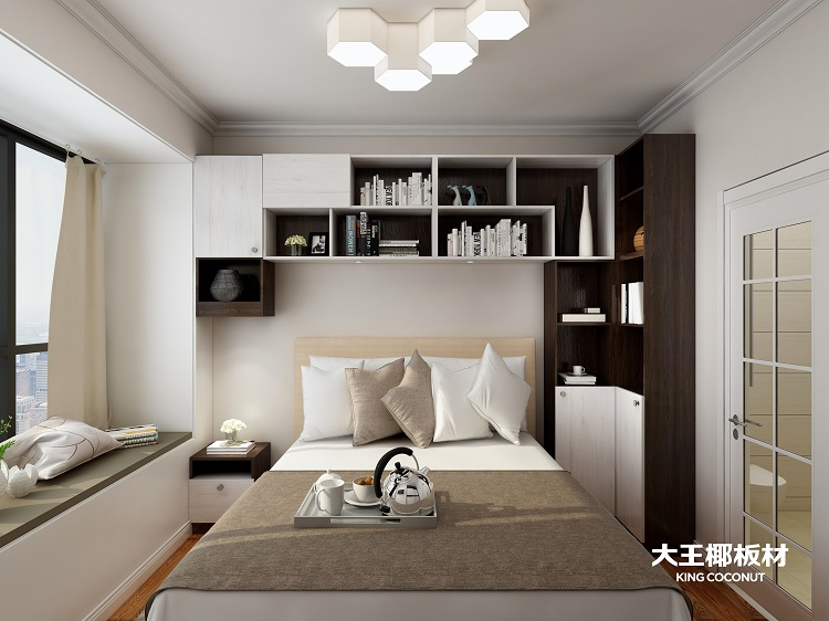 跨越整张床的阅读区,贯穿整个房间,与飘窗结合在一起浑然天成